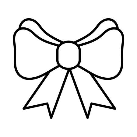 happy merry christmas bow line style icon vector illustration design