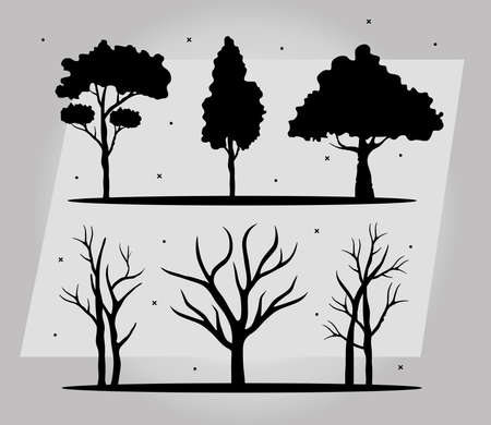 bundle of six trees forest silhouette style icons vector illustration design