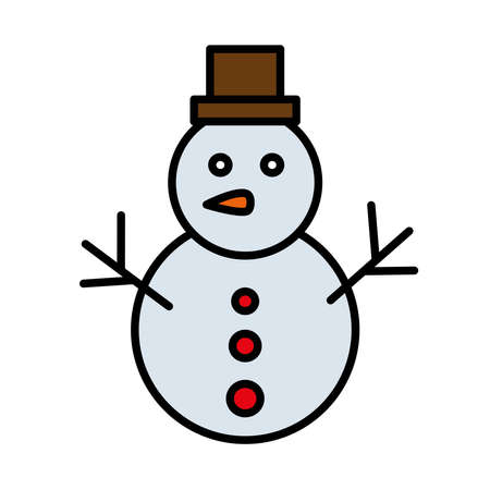 happy merry christmas snowman line and fill style icon vector illustration design Çizim