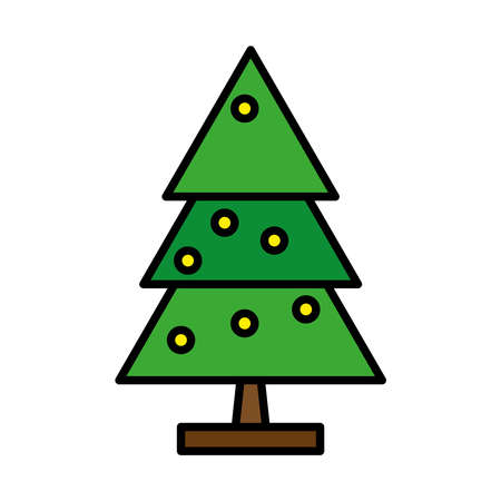 happy merry christmas pine tree line and fill style icon vector illustration design