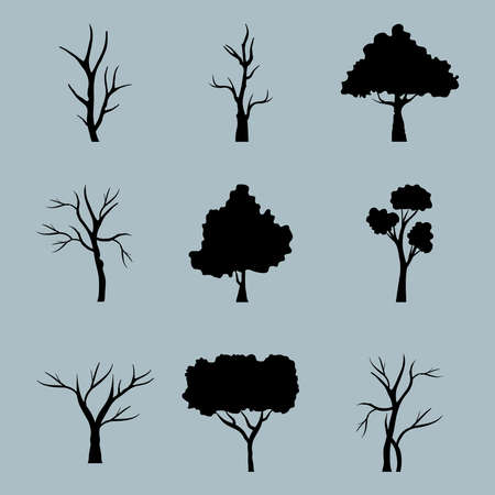 bundle of nine trees forest silhouette style icons in blue background vector illustration design