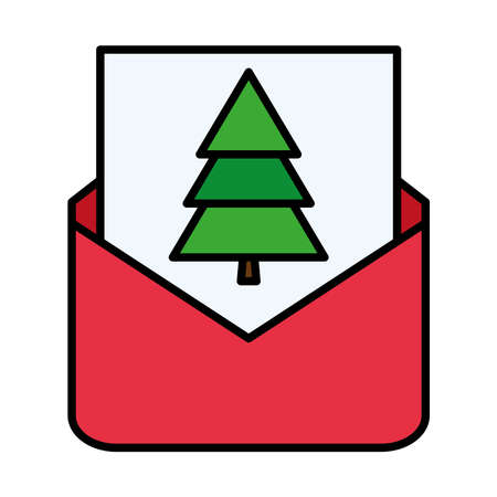 happy merry christmas pine tree in envelope line and fill style icon vector illustration design Çizim