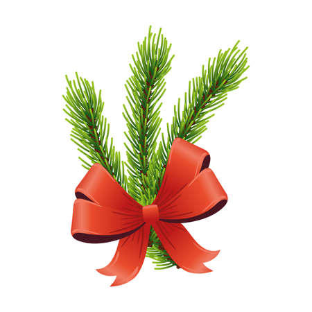 happy merry christmas red ribbon and leafs pine tree vector illustration design