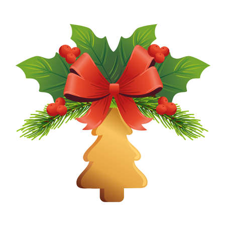 christmas golden pine tree with bow and leafs vector illustration design Çizim