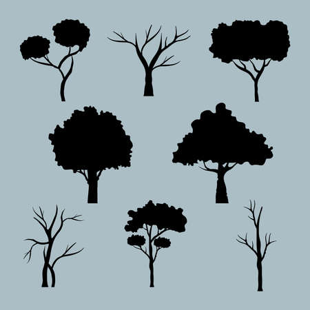bundle of eight trees forest silhouette style icons vector illustration design Çizim