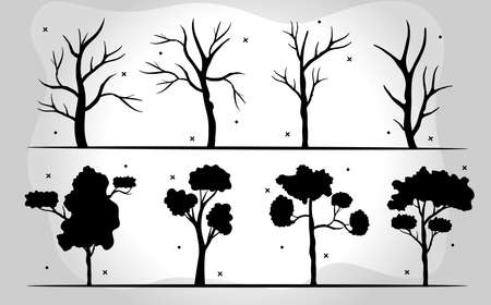 bundle of eight trees forest silhouette style icons in gray background vector illustration design Çizim