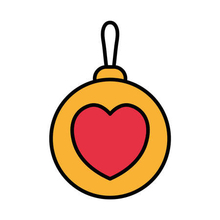 happy merry christmas ball with heart line and fill style icon vector illustration design