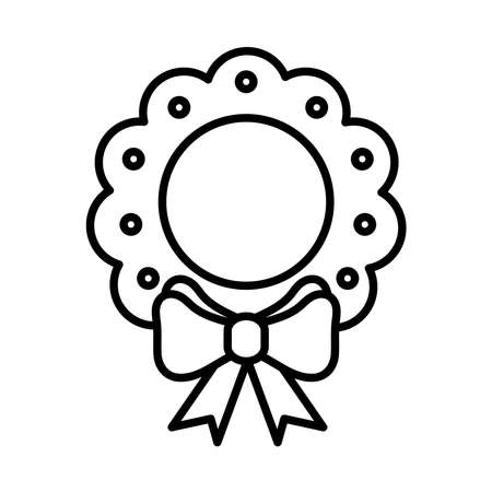 happy merry christmas wreath crown with bow line style icon vector illustration design Çizim