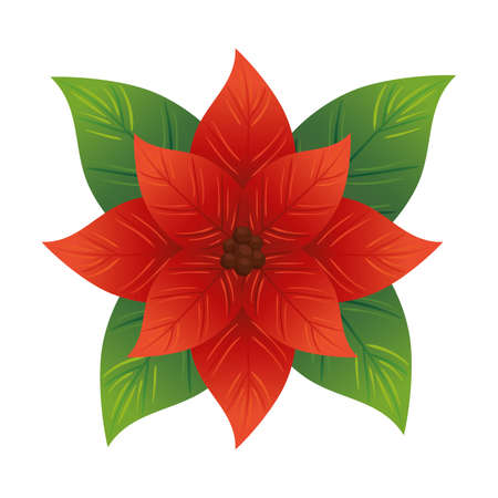 christmas decorative leafs with red flower vector illustration design Çizim