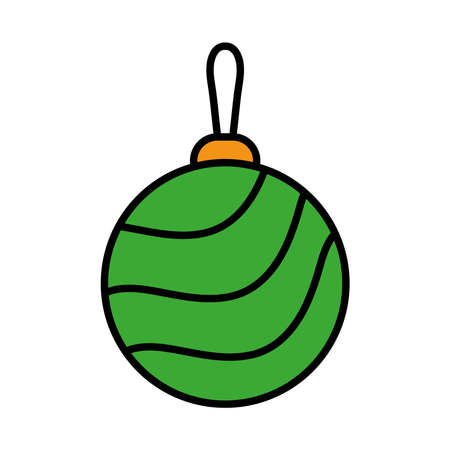 happy merry christmas ball with waves line and fill style icon vector illustration design