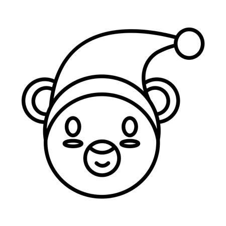 happy merry christmas elf head line style icon vector illustration design
