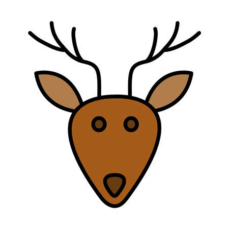 happy merry christmas reindeer line and fill style icon vector illustration design