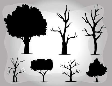 bundle of seven trees forest silhouette style icons vector illustration design