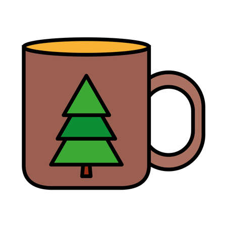 happy merry christmas pine tree in mug line and fill style icon vector illustration design