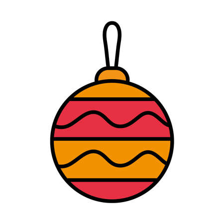 happy merry christmas ball with stripes line and fill style icon vector illustration design