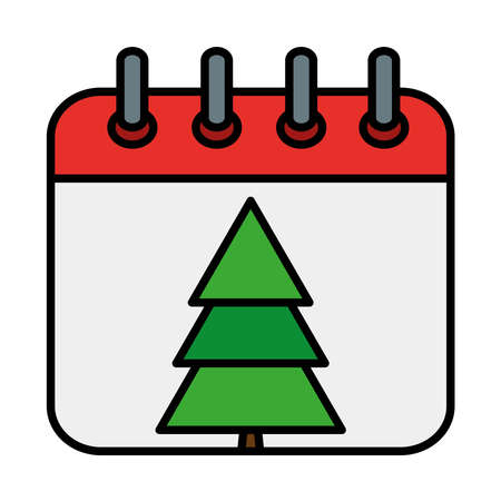 happy merry christmas pine tree in calendar line and fill style icon vector illustration design