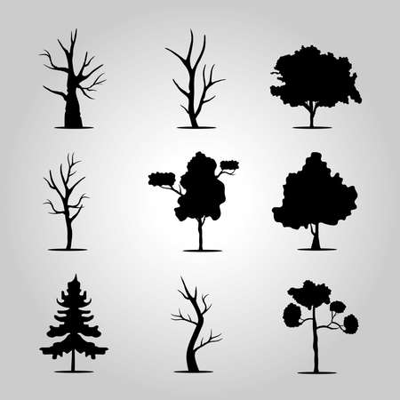 bundle of nine trees forest silhouette style icons vector illustration design