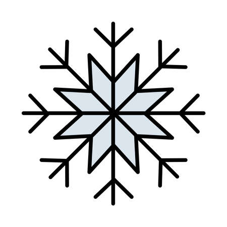 happy merry christmas snowflake line and fill style icon vector illustration design