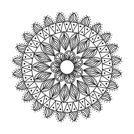 monochrome ethnic mandala decoration icon vector illustration design Çizim