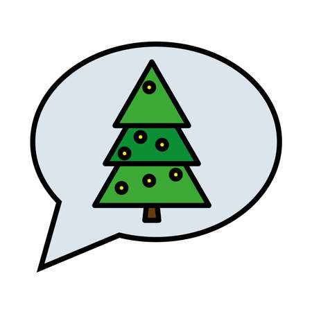 happy merry christmas pine tree in speech bubble line and fill style icon vector illustration design Çizim