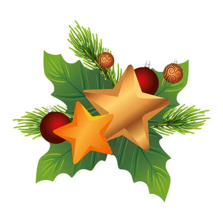 christmas decorative leafs with golden stars vector illustration design Çizim