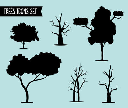 bundle of six trees forest silhouette style icons and lettering vector illustration design Çizim