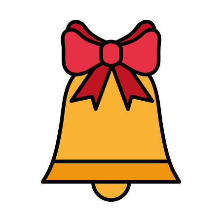 happy merry christmas bell with bow line and fill style icon vector illustration design
