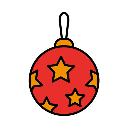happy merry christmas ball with stars line and fill style icon vector illustration design