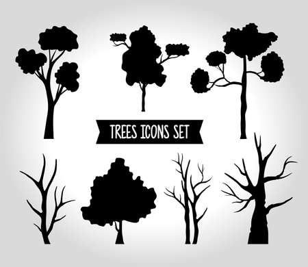 bundle of seven trees forest silhouette style icons and lettering vector illustration design Çizim