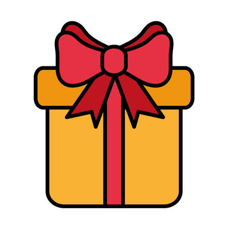 happy merry christmas gift line and fill style icon vector illustration design