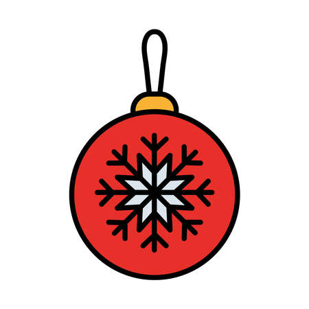 happy merry christmas ball with snowflake line and fill style icon vector illustration design