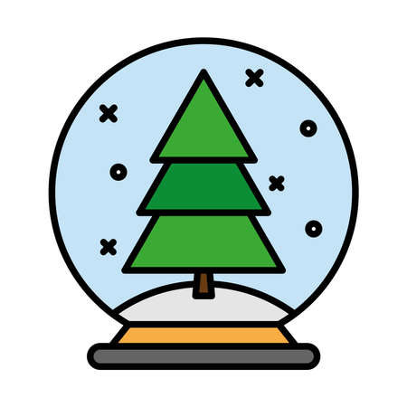 happy merry christmas pine tree in ball line and fill style icon vector illustration design