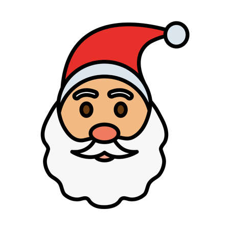 happy merry christmas santa claus line and fill style icon vector illustration design