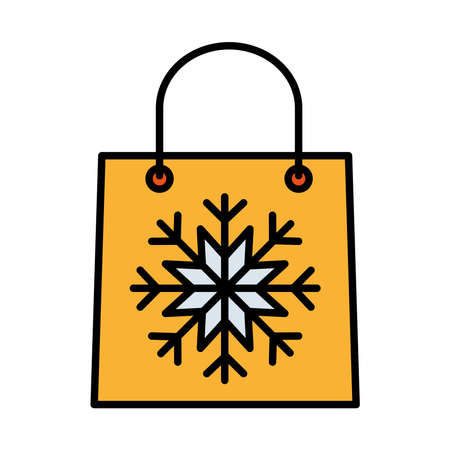 happy merry christmas shopping bag with snowflake line and fill style icon vector illustration design