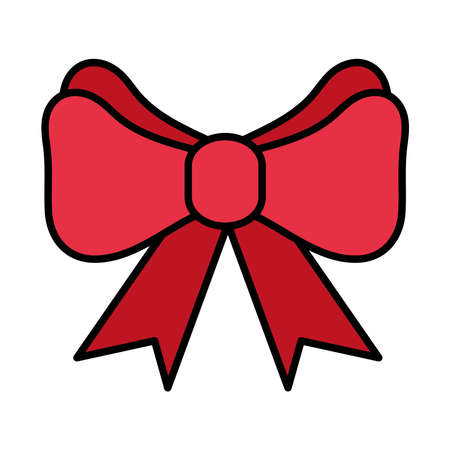happy merry christmas bow line and fill style icon vector illustration design