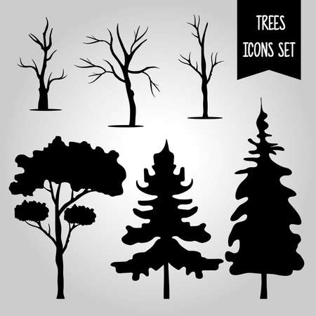 bundle of six trees forest silhouette style icons and lettering in gray background vector illustration design