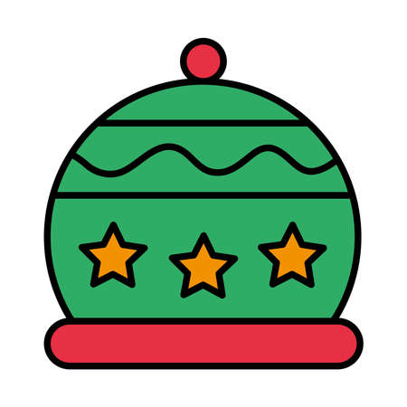 happy merry christmas hat with stars line and fill style icon vector illustration design