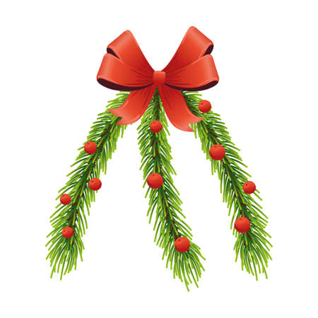 happy merry christmas pine leafs and red ribbon vector illustration design Çizim
