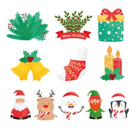 bundle of eleven happy merry christmas set icons vector illustration design