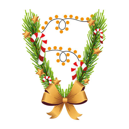 christmas golden bow with pine leafs and lights vector illustration design Çizim