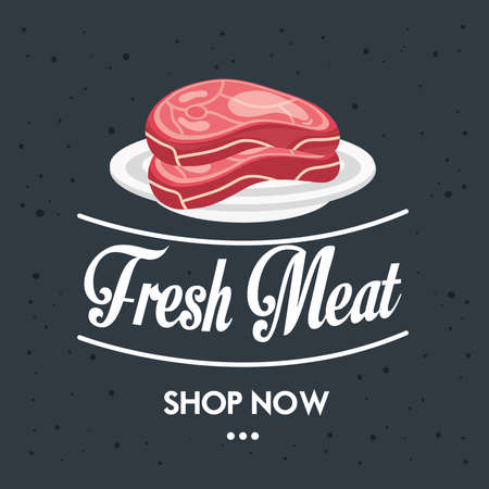 delicious fresh diced beef butchery product in dish vector illustration design Çizim