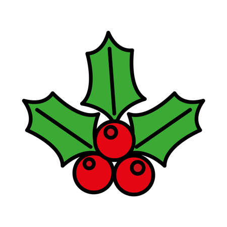 happy merry christmas berries and leafs line and fill style icon vector illustration design