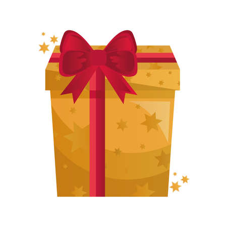 gift box present golden with red bow vector illustration design Çizim