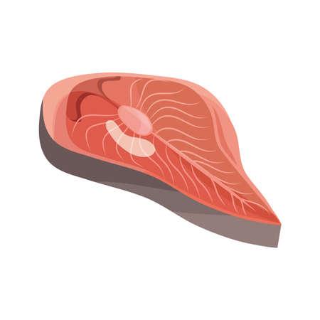 delicious fresh salmon cut icon vector illustration design