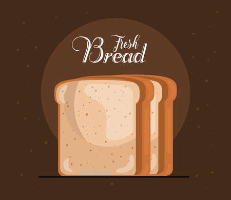 toast bread delicious pastry product and lettering vector illustration design