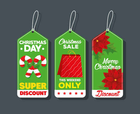 three happy merry christmas tags hanging vector illustration design