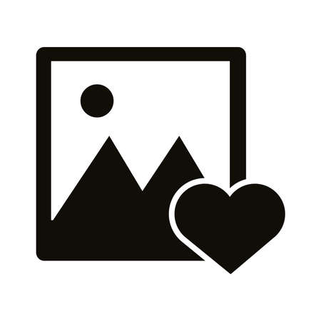 photo picture with heart block style icon vector illustration design