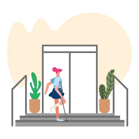 woman with crutches disable person vector illustration design