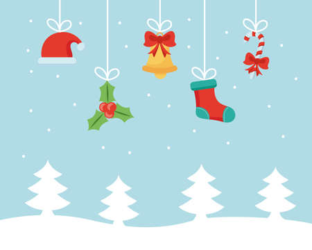 merry christmas set flat icons hanging in snowscape vector illustration design