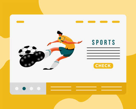male athlete practicing soccer sport character and lettering vector illustration design